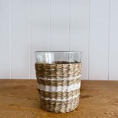 Seagrass Wide Cage Tumbler with White Stripe