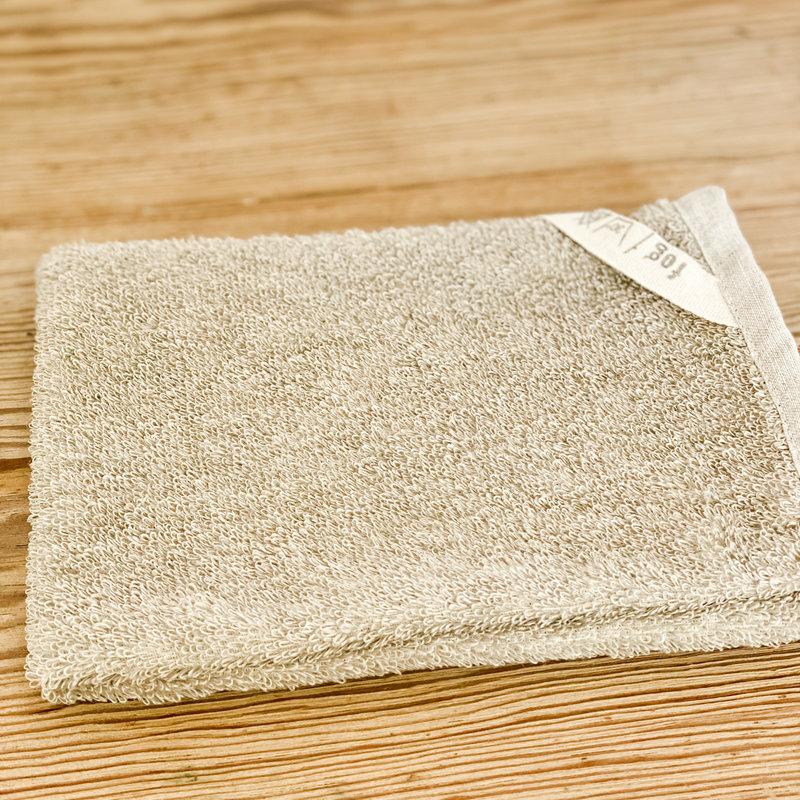 Fog Linen Linen Pile bath Mitten Natural