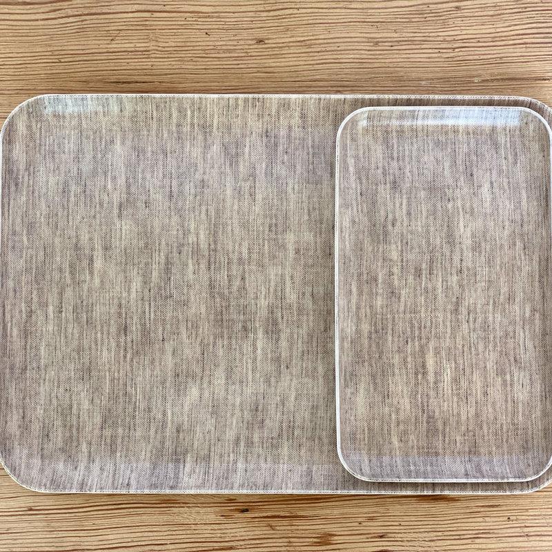 Fog Linen Natural  Linen Coated Tray, Medium