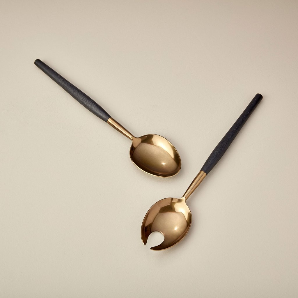 Be Home Black Mango Wood and Aged Bronze Serving Set