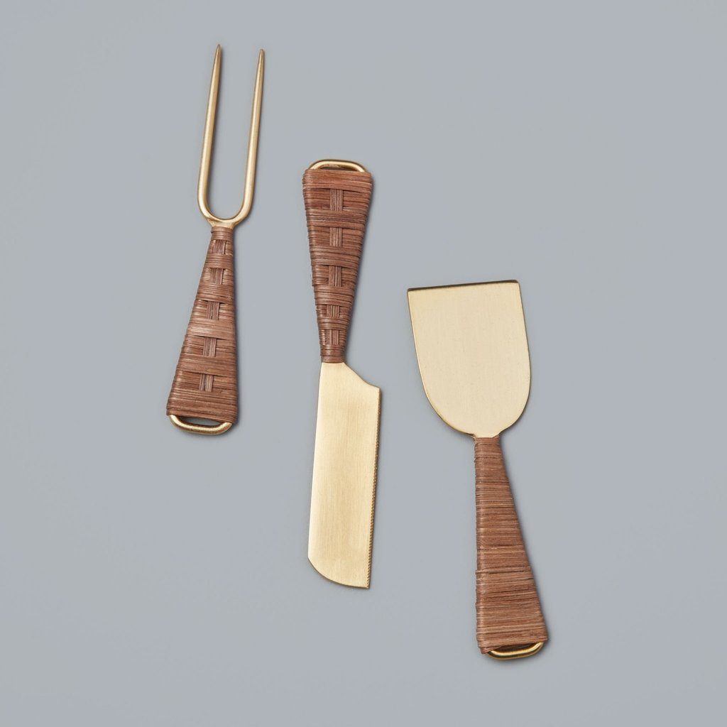 Be Home Rattan & Gold Cheese Set