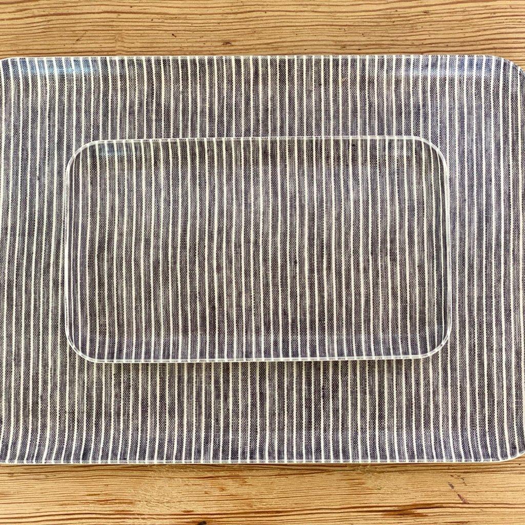Fog Linen Gray and White Striped Linen Coated Tray, Medium