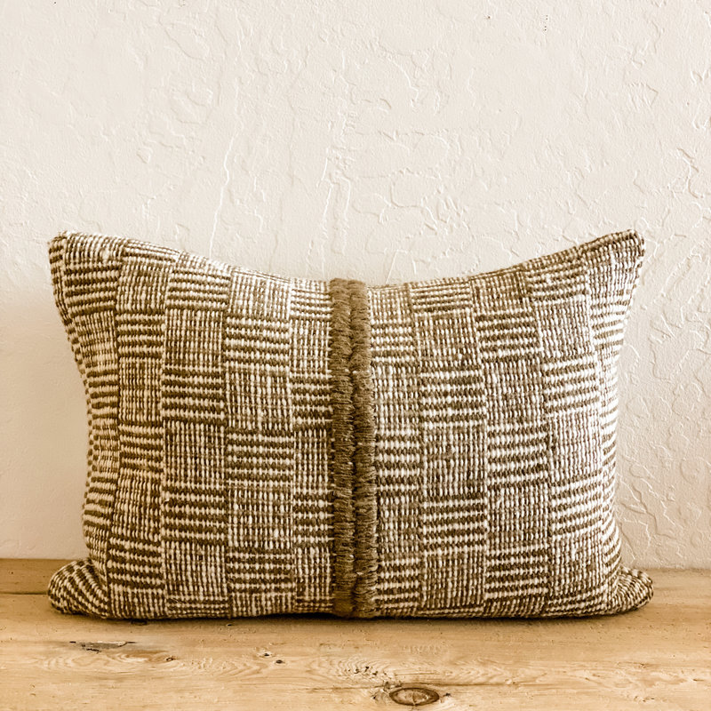 Treko Makun Pillow/insert  - Square Stripes- Pello Green