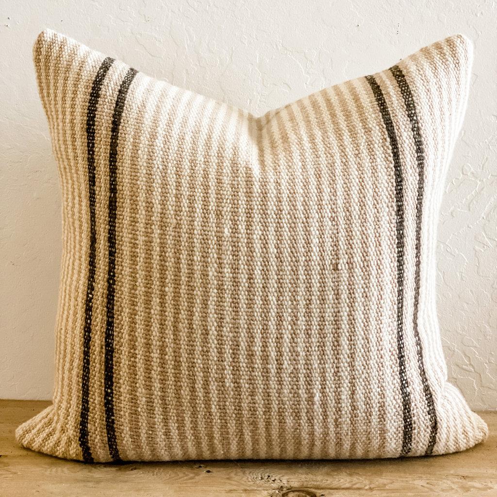 "Elm Bark and White Stripes Makun 26"" pillow and insert"