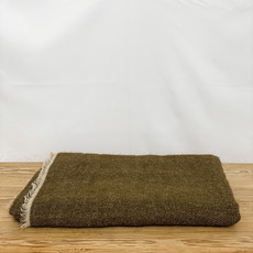 Bahia Linen and Wool Throw in Olive Green, Color #55