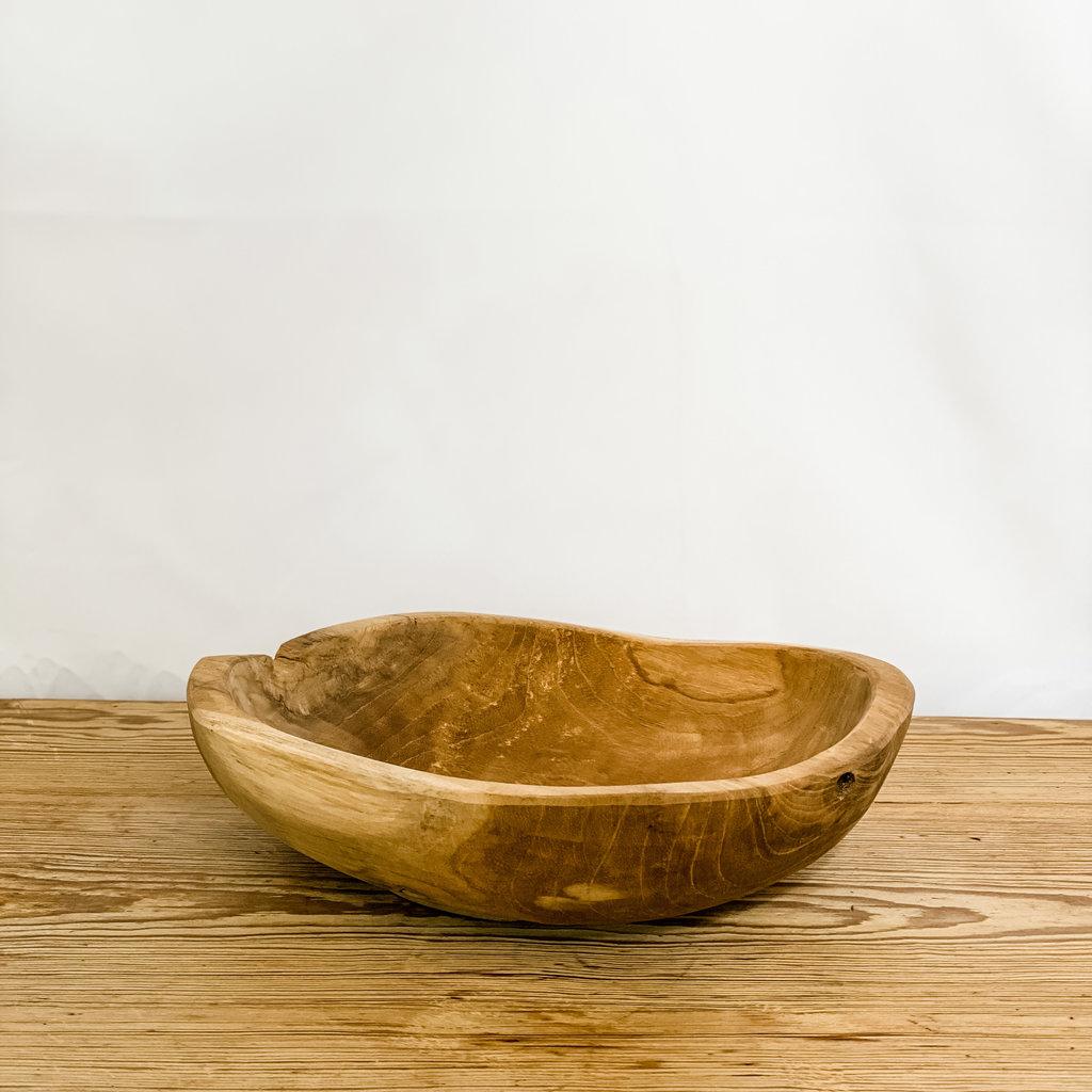 Texture Imports Small Natural Teak Organic Bowl