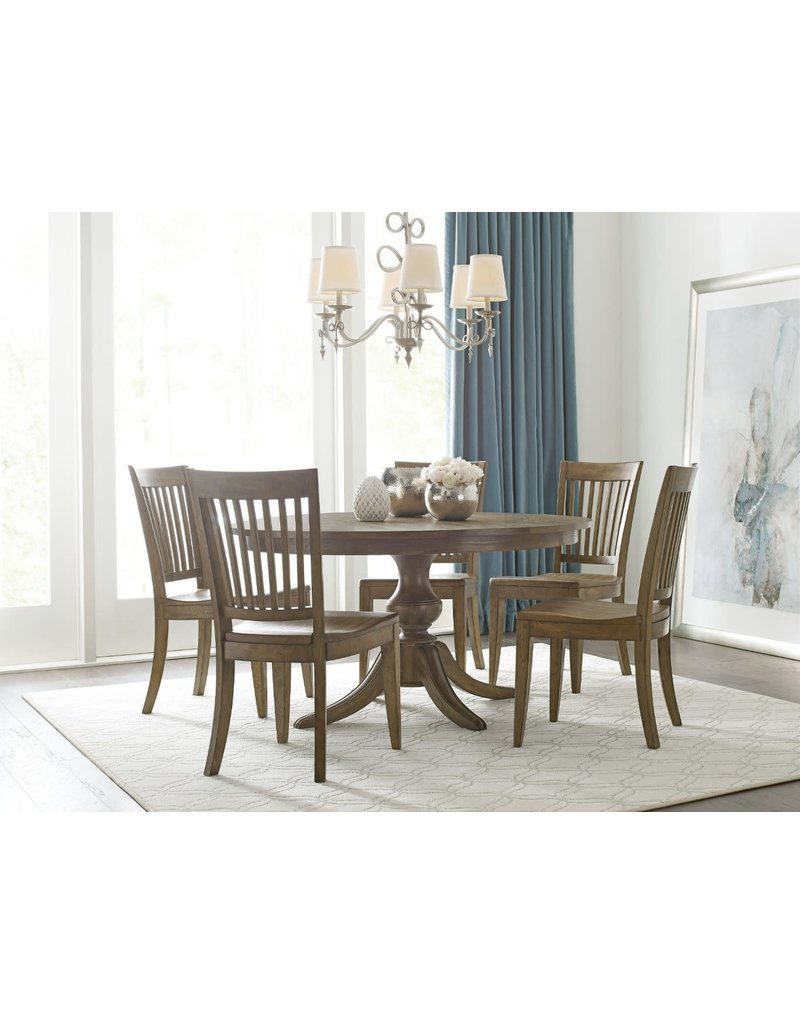 """Kincaid Kincaid The Nook 54"""" Round Dining Table with Wood Base in Brushed Oak (663-54WP)"""