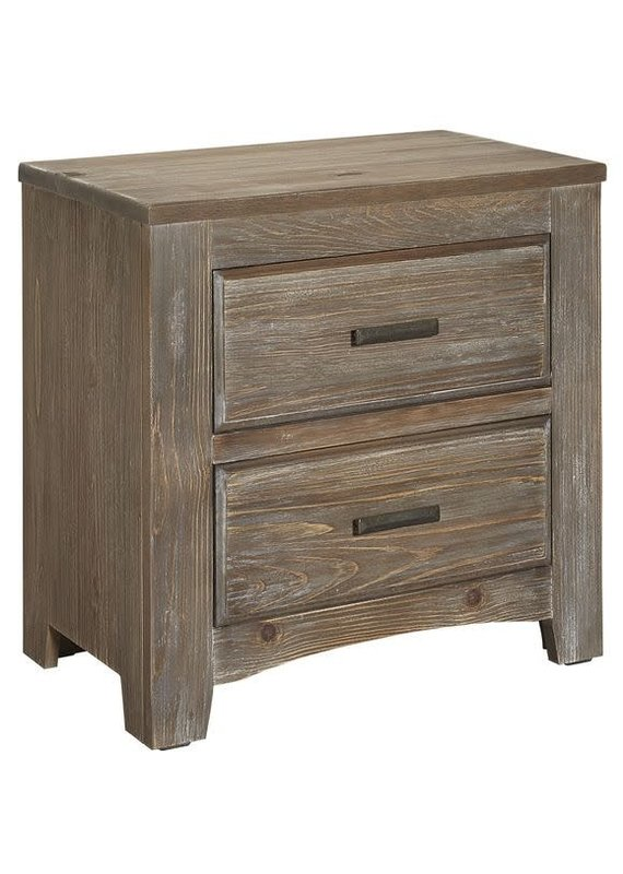 Vaughan Bassett Cottage Too 2 Drawer Nightstand (Saddle Grey)