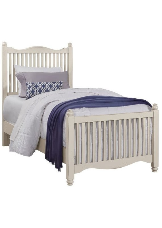 American Maple Twin Slat Complete Bed (Dusky White)