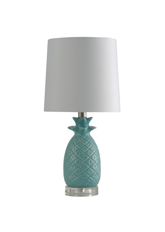 Accent Table Lamp with Hardback Fabric Shade (Seafoam)