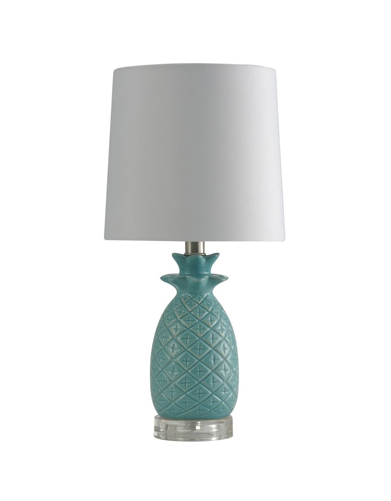 StyleCraft Home Collection - 18.3'' Tall Accent Table Lamp with Hardback Fabric Shade in Seafoam (L10176G)