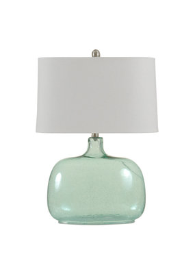 Teal Seeded Glass Table Lamp
