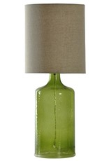 StyleCraft Home Collection - Seeded Glass in Meadow Green with Natural Linen Shade (L23568)