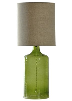 Seeded Glass (Meadow Green) with Natural Linen Shade