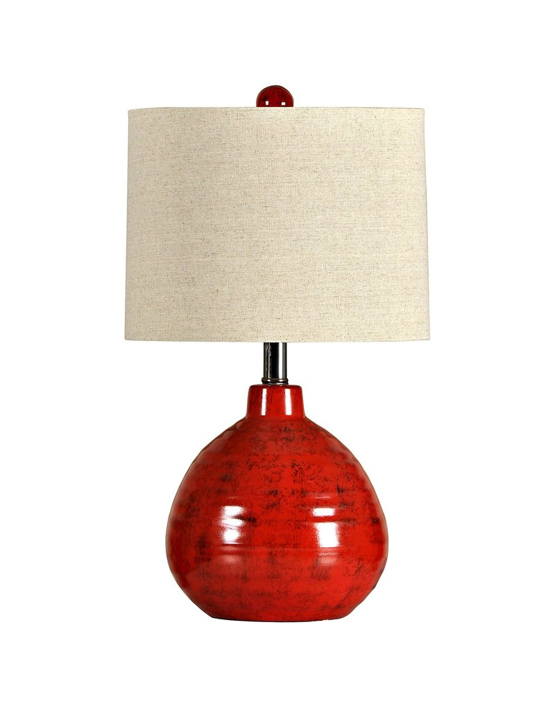 StyleCraft Home Collection - Accent Ceramic Table Lamp in Apple Red (L22018)