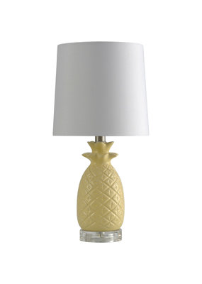 Light Yellow Ceramic Pineapple w/ White Shade