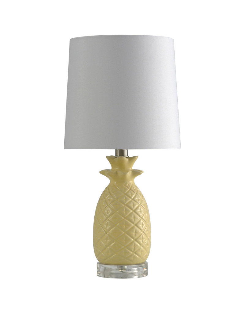 StyleCraft Home Collection - Light Yellow Ceramic Pineapple w/ White Shade (L10176B)