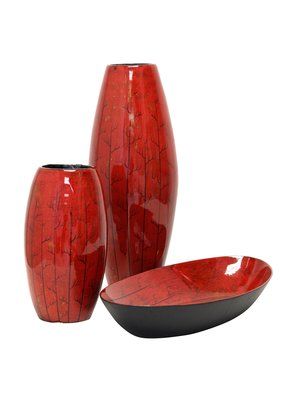 Two Red Urn Vases w/ Bowl