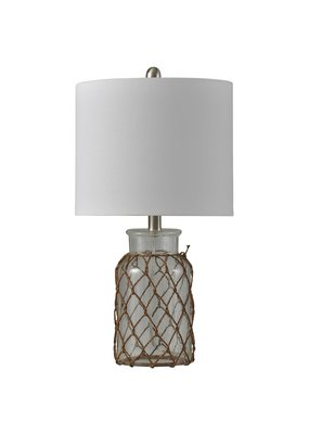 Traditional Coastal Glass and Rope Table Lamp