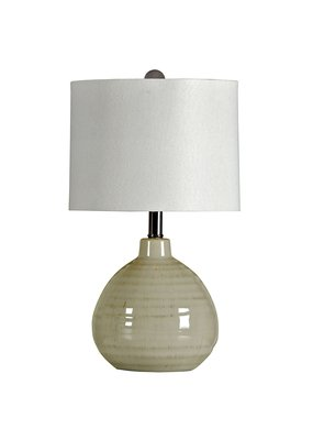 Accent Cool Gray Ceramic Table Lamp with White Linen Hardback Shade