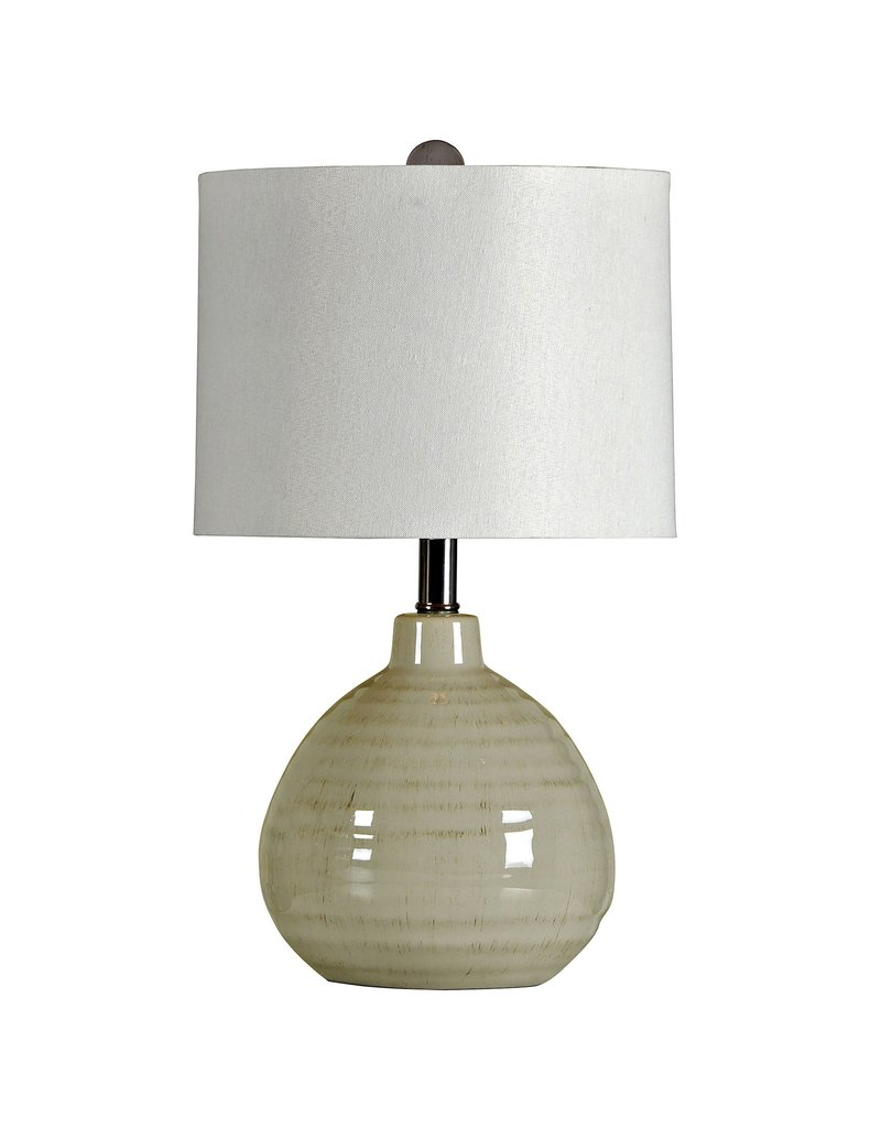 StyleCraft Home Collection - Accent Cool Gray Ceramic Table Lamp with White Linen Hardback Shade (L22017)