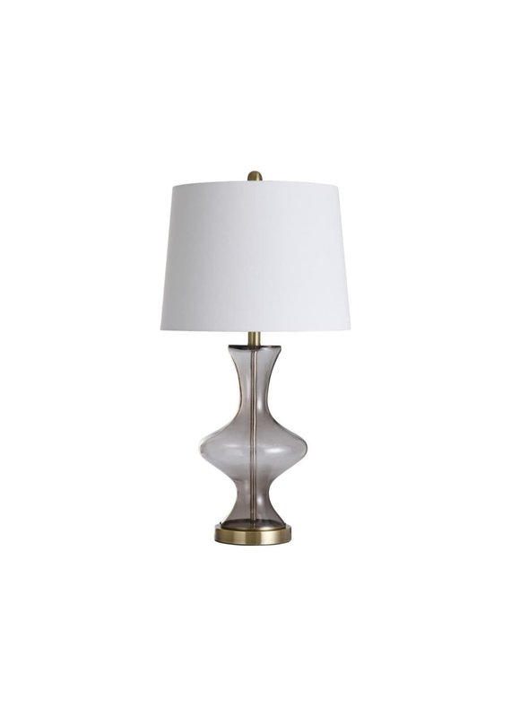 Glass and Steel Table Lamp