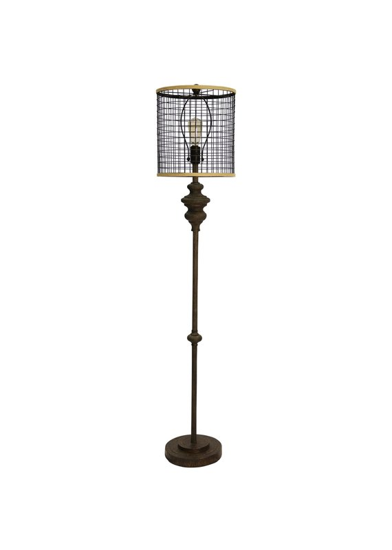 Industrial Open Metal Mesh Shade Floor Lamp (Dark Bronze)