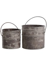 StyleCraft Home Collection - Set of 2 Concrete Buckets in Onley Grey (AC521117)