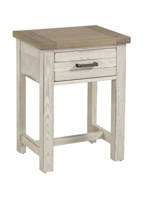 Vaughan Bassett Highlands 1 Drawer Nightstand  (Aged White w/ Sandstone Top)