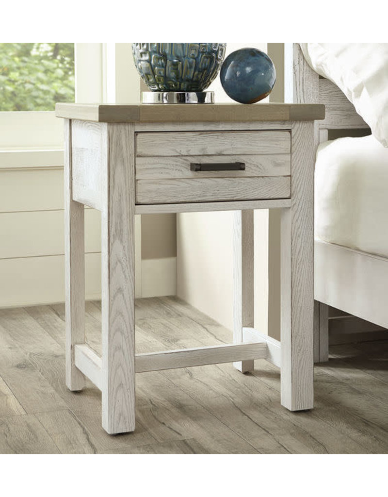 Vaughan Bassett Vaughan Bassett Highlands 1 Drawer Nightstand in Aged White w/ Sandstone Top (134-226)