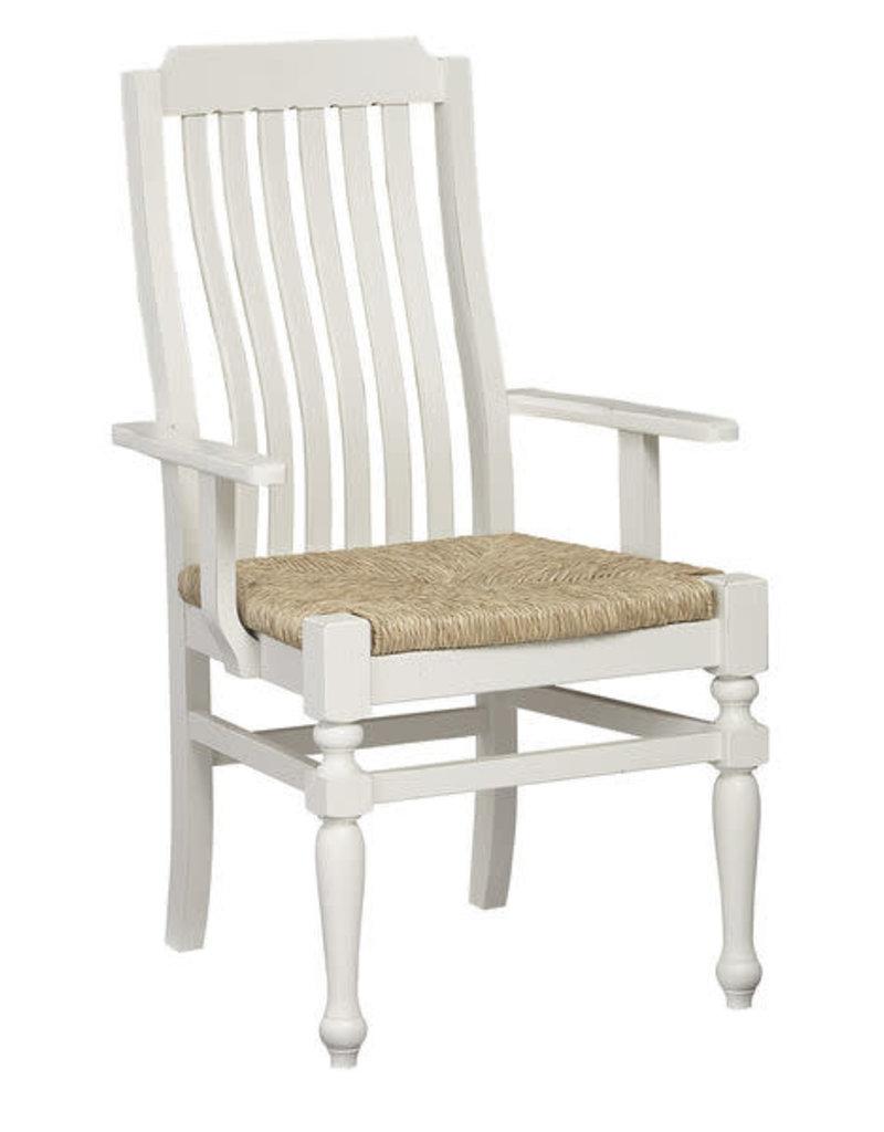 Vaughan Bassett Vaughan Bassett LM Co. Scotsman Seagrass Seat Arm Chair in Cream (244-021)