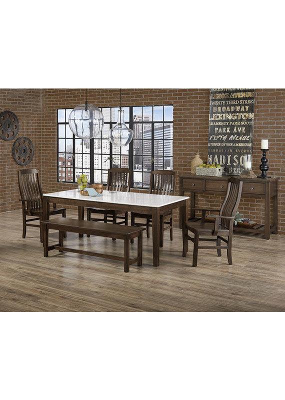 Vaughan Bassett Simply Dining Vertical Slat Arm Chair (Dark Maple)