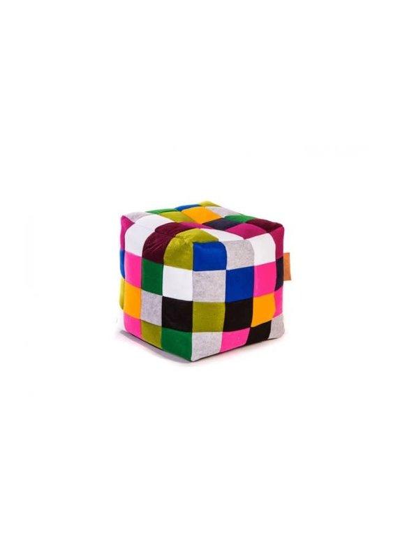 Paris Multi Checkered Felt Cube Ottoman Bean Bag