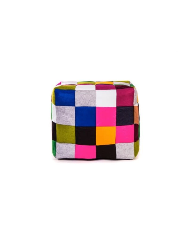 Lazy-Life Paris Multi Checkered Felt Cube Ottoman Bean Bag