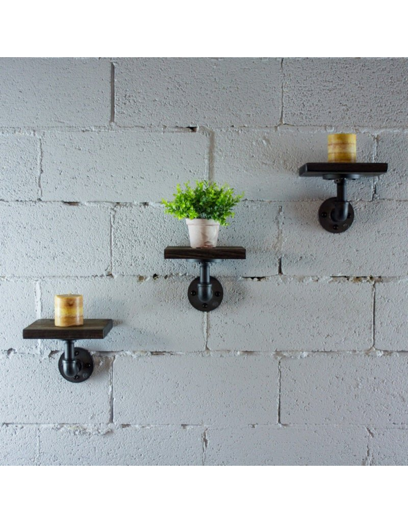 Furniture Pipeline Ames Wall Shelf in Rustic Bronze with Wood Shelf (SD1-BR/GR/NA)