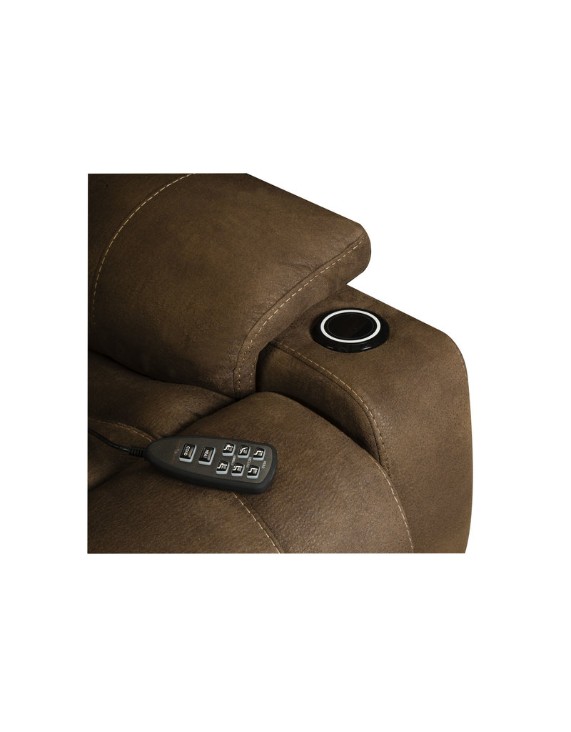 HomeStretch Triple Power Heat/Cool Recliner in Pebble Brown (183-97-21)
