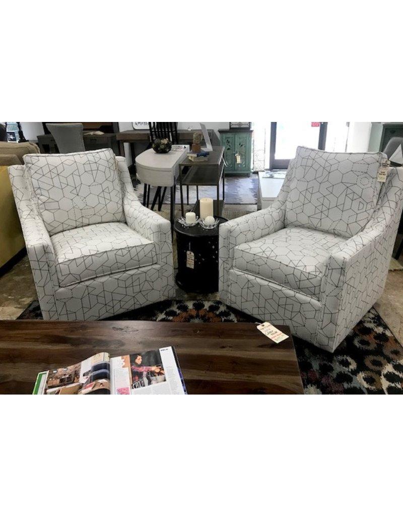 Carolina Classic Furniture Oakley Swivel Glider Chair in Stellar Geometry