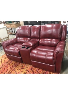 Red Leather Rocking Reclining Loveseat