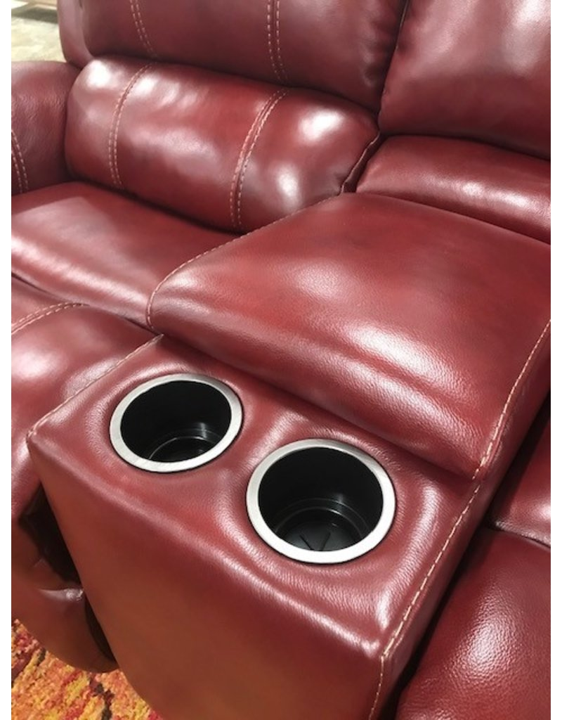 HomeStretch Red Leather Manual Rocking Reclining Console Loveseat (188-24-41)