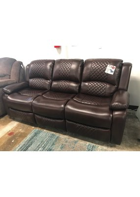 Power Double Reclining Sofa in Diamond Back Brown Leather