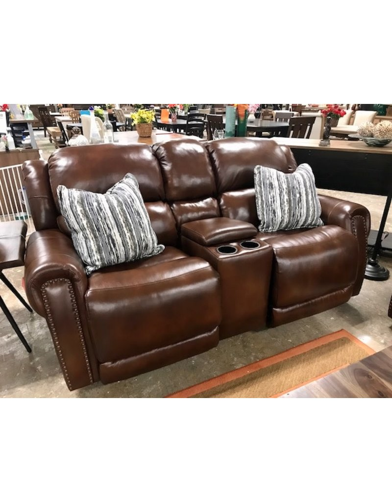 HomeStretch Custom Comfort Brown Leather Double Rocking Reclining Console Loveseat (191-23-21LV)