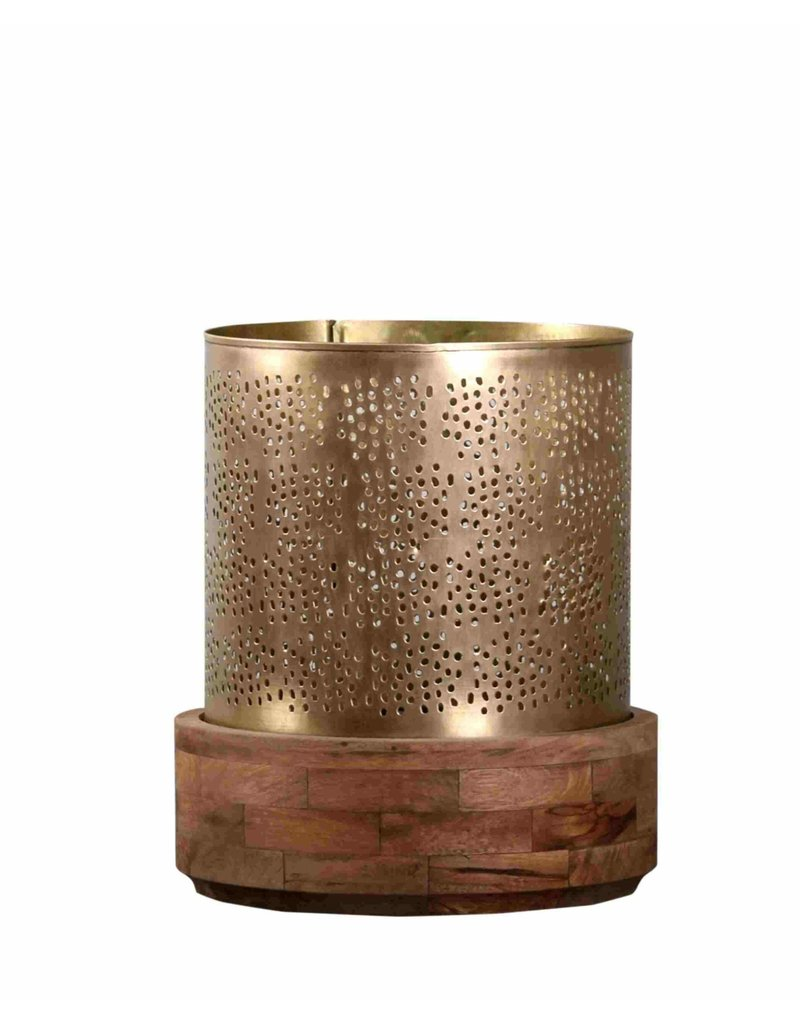 Villa 2 Manado Hurricane Large Candle Holder in Antique Gold (66185020L)