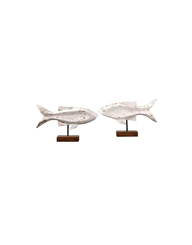 Villa 2 Wooden Fish on Stand in Distressed Antique White (Set of 2) (661154WFL)