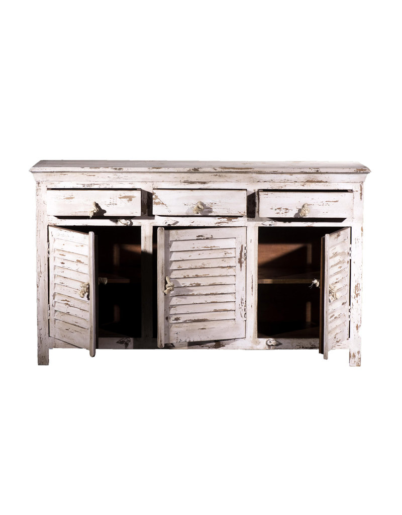 Villa 2 Shutter Wood Sideboard in Antique White (70110079)
