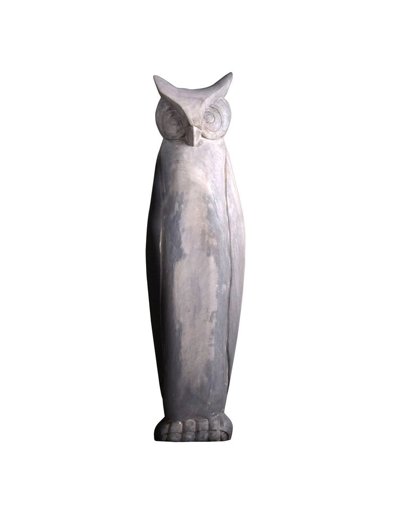 Villa 2 Large Wooden Owl in  Antique White (66110L22)