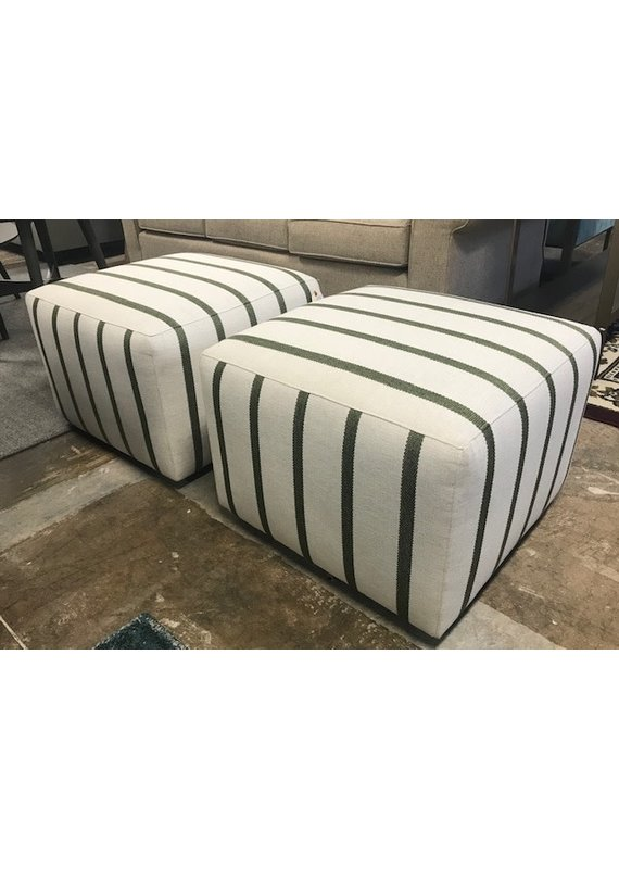 Stone & Leigh Cube Ottoman (Beige Green Stripes)