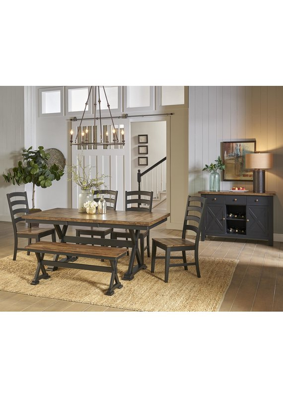 A-America Stone Creek 6pc Trestle Dining Table Set (4 chairs & bench)