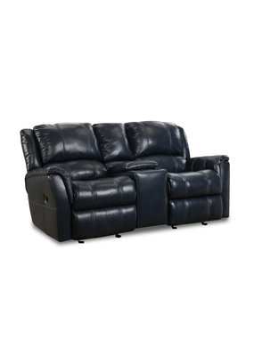 Blue Leather Gliding Console Loveseat
