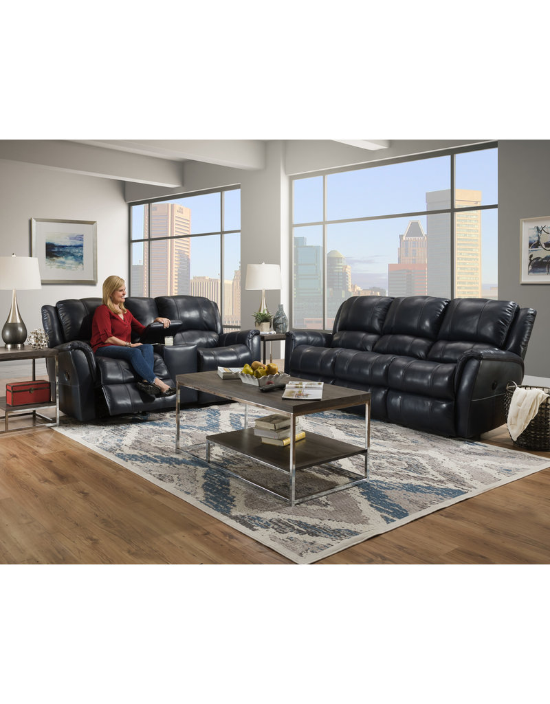 HomeStretch Blue Leather Gliding Console Loveseat (188-24-62)