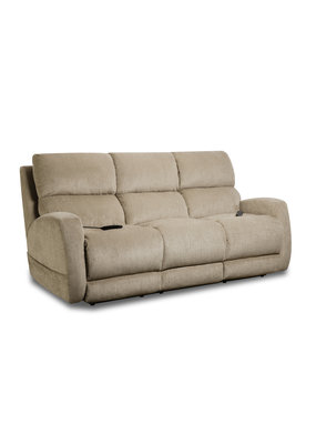 Custom Comfort Beige Triple Power Sofa
